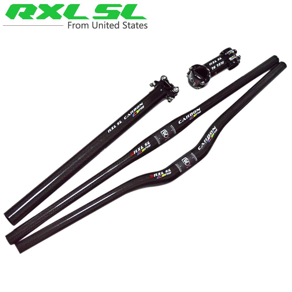 Prix pour Rxl sl pro fiber de carbone vtt guidon vélo tige + tige de selle carbone tube + Plat Riser Vtt Bar 3 K Brillant Guidon ensemble
