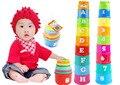9 pçs/set Educacional crianças Brinquedos para crianças Figuras Letras Folding Copa Pagode Bebê Crianças Juguetes de Inteligência Precoce de Empilhamento