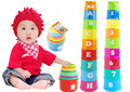 9pcs/Set Educational kids Toys Figures Letters Folding Cup Stacking Pagoda Baby Children Juguetes Early Intelligence