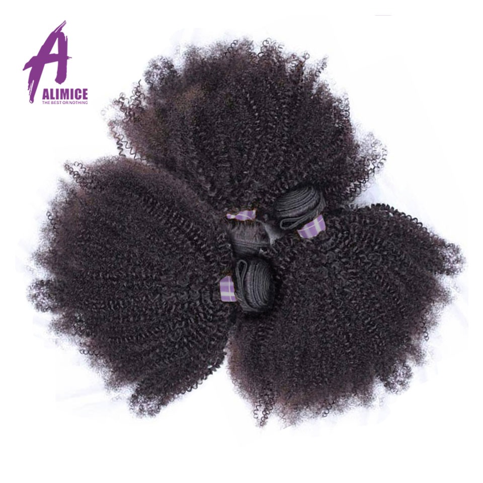 ALIMICE Peruvian Afro Kinky Curly Hair 3 Bundles Human Hair Weaves Bundles Natural Color 100% Non Remy Hair Extensions 8-30inch