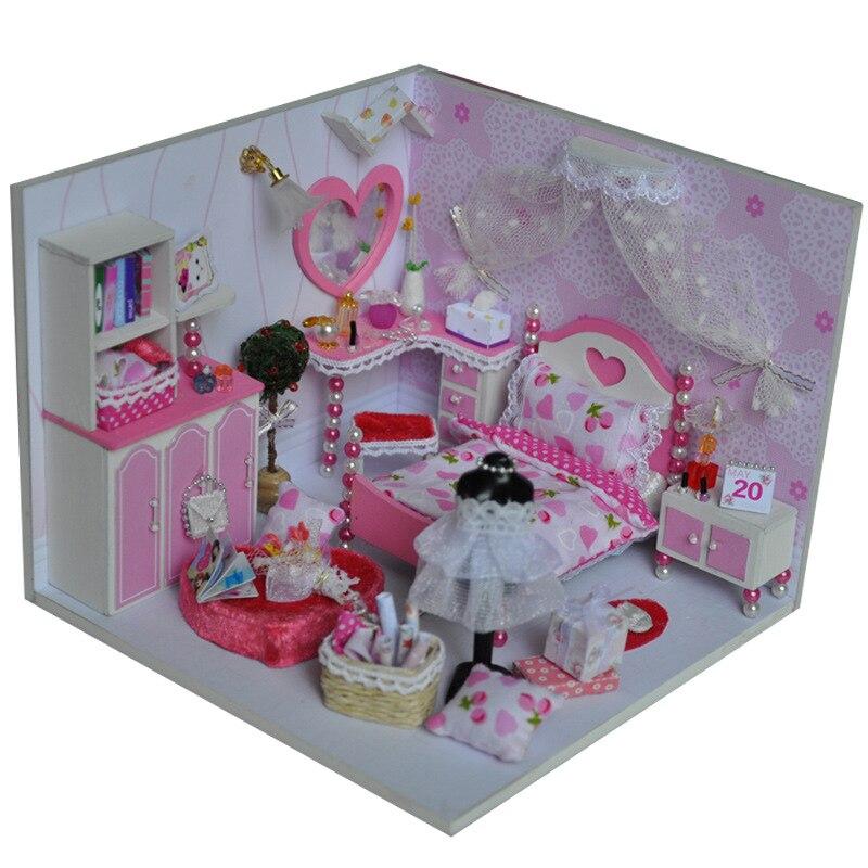 Girls Kids Childrens Wooden Nursery Bedroom Furniture Toy: 3D Diy Blue Girl's Room Wooden Miniature Doll House