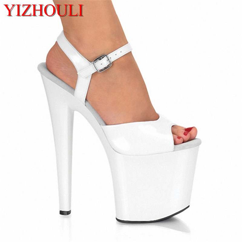 8 inch Stiletto High Heels Julie Shoes Open Toe Womens Shoes 17cm High-Heeled Sandals Platform Dance Shoes white Wedding Shoes 17cm ultra high heels sandals glitter platform bride wedding shoes dance shoes 7 inch crystal shoes plus big size