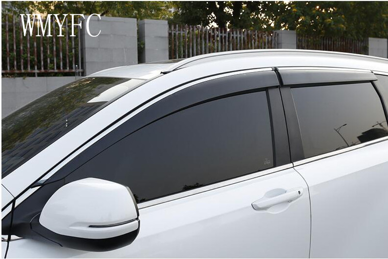 For Honda CR-V CRV 2017 2018 Plastic Window Visor Sun Guard Rain Vent Deflector Shield Accessories With Side-Silver Chromed 4pcs хромовые накладки для авто guard rain shield sun visor vent sun hyundai tucson ix35