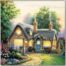 Peter ren Diamond  painting 5d Square & Round Diamonds Drawing Room Full Resin Painted Embroidery Cottage smoke