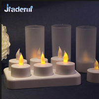 Jiaderui 6PSC LED Recharge Flameless New Year Tea Light Candle Set Electric Votives Waxless Safe Birthday