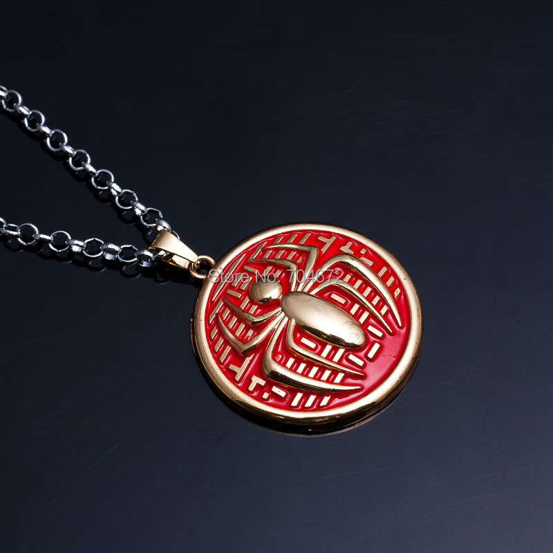 Cute <font><b>Anime</b></font> Toys Spider-Man <font><b>Necklace</b></font> Red Shield <font><b>Spiderman</b></font> <font><b>Necklace</b></font> <font><b>Pendant</b></font> Chain Copslay Accessory Gifts