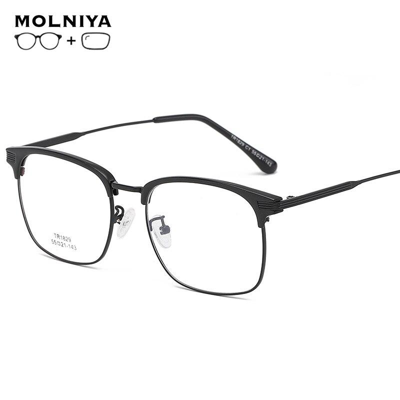 Korrektionsbrillen Herren-brillen Eleccion Brillen Männer Myopie Brillen Platz Sport Brillen Optische Rahmen Tr90 Halb Rahmen Brille Mit Dioptrien Hohe Sicherheit