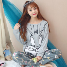 2018 new Autumn long sleeves pyjamas women cartoon bugs bunny cotton pajamas home clothes cute Pajamas two-piece suit sleep wear