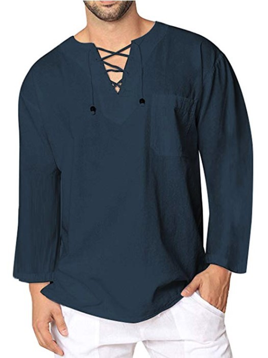 Mens Cotton Linen Chinese Style Long Sleeve Shirt V-Neck Casual Tops Solid Lace Up Shirts C22