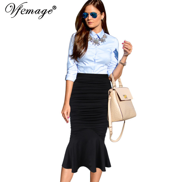 49af7fd9f56 Vfemage Womens Elegant Ruched Frill High Waist Vintage Work Business Party  Cocktail Club Fishtail Mermaid Pencil Midi Skirt 8349