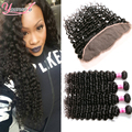 8A Malaysian Lace Frontal Closure With Bundles Deep Wave 3 Bundles With Closure Curly Malaysian Virgin Hair With Frontal Closure