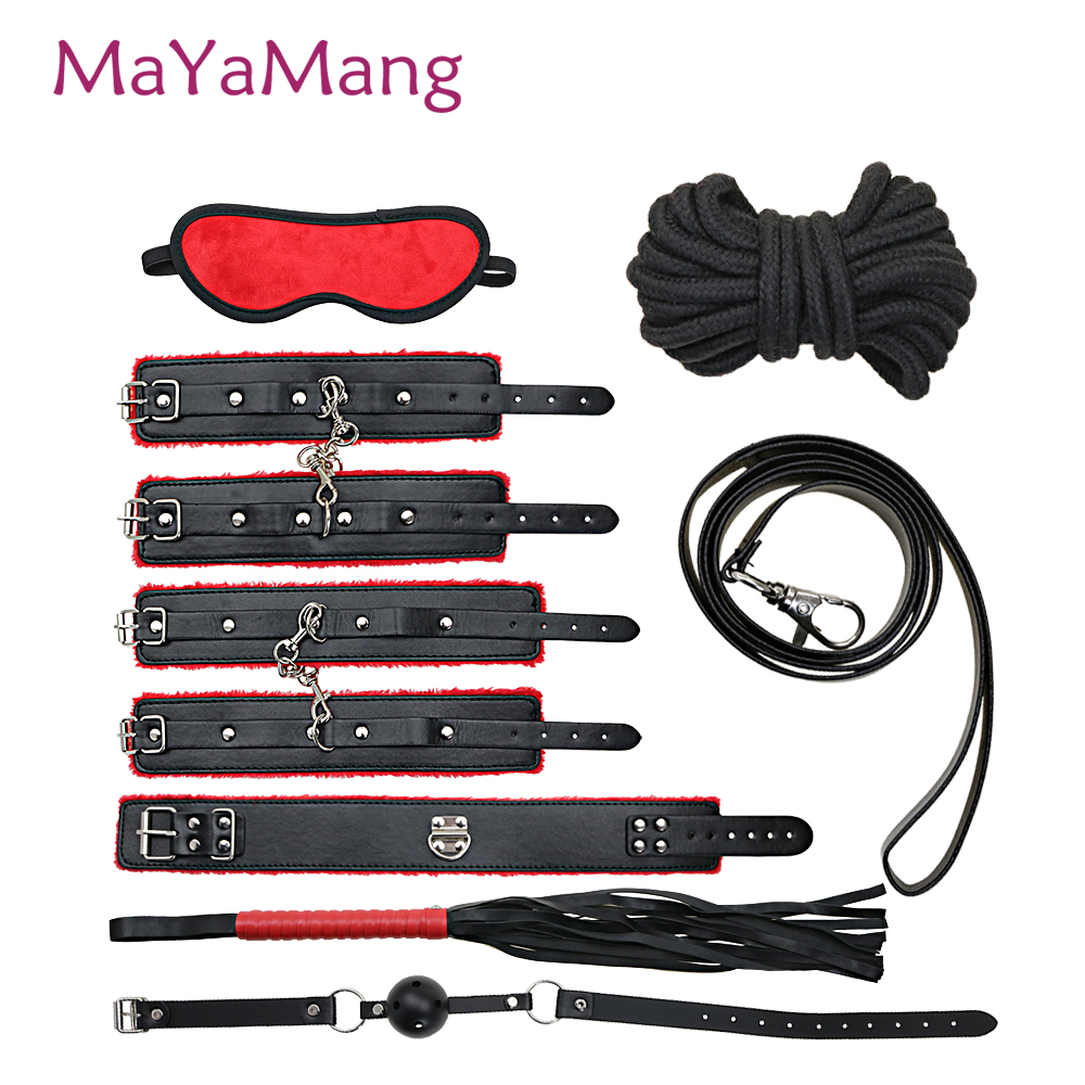 Mayamang 7 Pcs BDSM Bondage Set Leather Fetish Adults Games Cuff Whip Slave Game SM Product Erotic Sex Toys for Couples fetish sex furniture harness making love sex position pal bdsm bondage product erotic toy swing adult games sex toys for couples