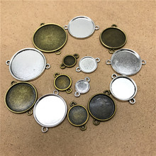 10pcs 8/10/12/14/16/18/20/25mm Glass Cabochon Copper Material Double Hanging Cameo Base Setting DIY Pendant Bracelet Accessory(China)