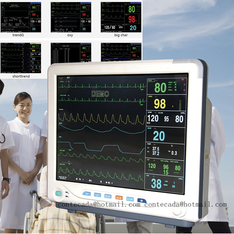 15'' ICU Patient Monitor Vital Signs Monitor 6 Parameters Touch Screen CMS9200+ usa fedex icu patient monitor co2 vital signs monitor 6 parameters etco2 stand