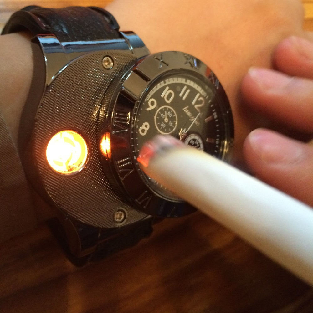 New 2016 Military USB Charging sports Lighter Watch Men s Casual Quartz Wristwatches with Windproof Flameless