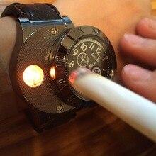 Новый 2016 USB Зарядка спорт Легче Смотреть Вскользь Кварцевые Наручные Часы с Ветрозащитный Непламено Зажигалка