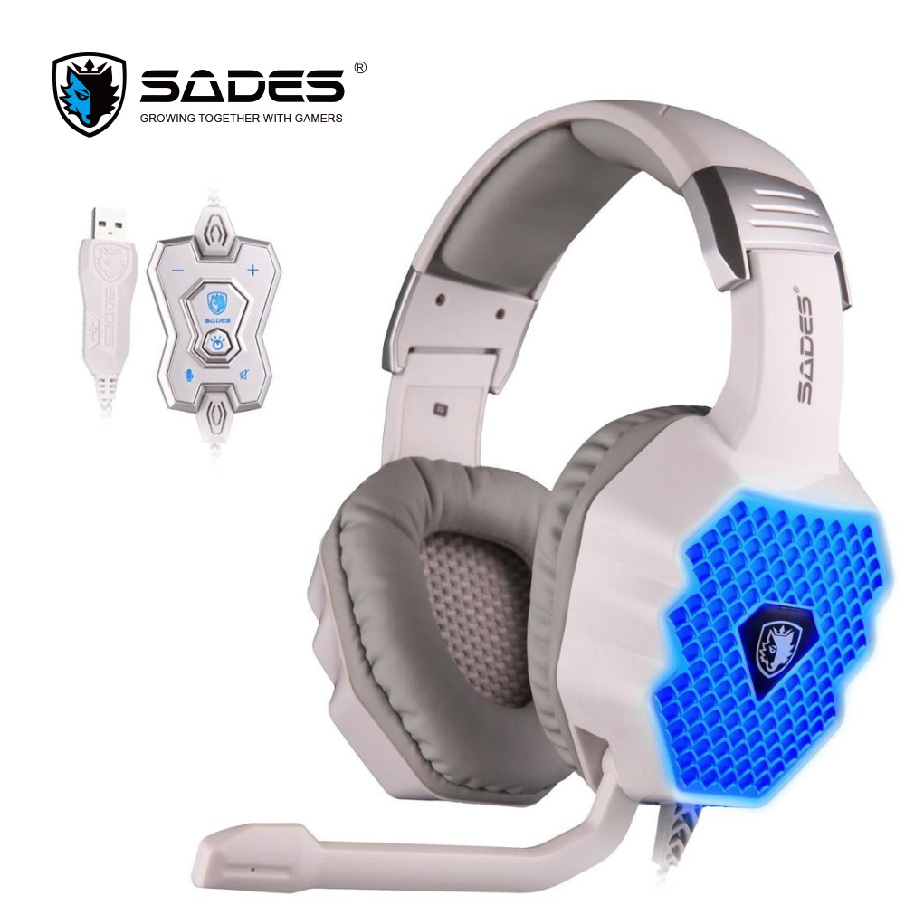 SADES A70 2017 new 7.1 Virtual Surround Sound USB Gaming Headset with Microphone Control Breathing LED Lights lamp for PC gamer