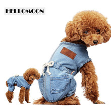 HELLOMOON solid jean clothes for dog casual dog clothes overalls jumpsuit for dogs(China)