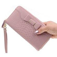 Women Wallet Leather Card Holder Long Purse Bow Tie Wristlet Striped Zipper Phone Bag Money Fashion