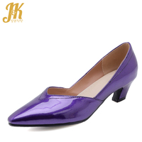 JK Thick Med Heels Women Pumps Pointed Toe Footwear Shallow Shoes Female Office Shoes Woman Spring 2019 New Plus Size 48 Purple