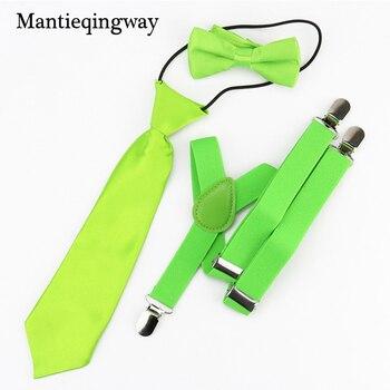 a5ebc1ffc Mantieqingway elástico ajustable Niño tirantes pajarita establece corbata  niños Liga boda Correa camisas Brace