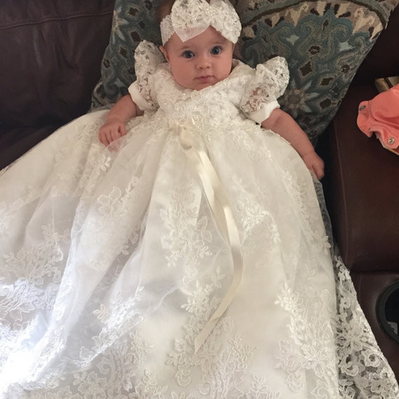 Without Headband White New Arrival Baby Girls Dresses Puff Sleeve Floor Length Short Sleeves Lace A-Line Formal Christening Gown hot summer style baby girls dress o neck floor length puff sleeve sleeveless lace a line formal baby girl christening gowns