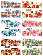 12 sheets beauty Colorful flower design Nail Art Full cover Water Transfer decals NAIL STICKER SLIDER TATTOO Nail Accessories