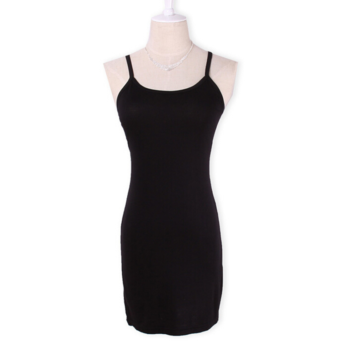 Новинка, Женская эластичная кофточка на бретельках, Длинный топ на бретелях, Мини Короткое платье, летнее повседневное сексуальное платье без рукавов для женщин - Цвет: Черный
