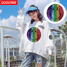GUGUTREE embroidery paillette big smile face patches rainbow badges for jackets