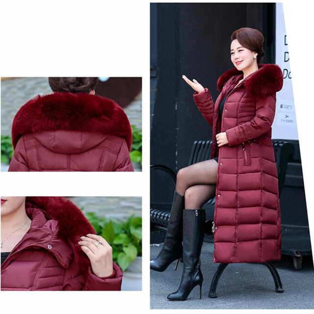 Winter Jacket New middle-aged Long section Cotton Outerwear Thickening Hooded Fur collar Cotton Parkas Large size L-5XL DD280 5