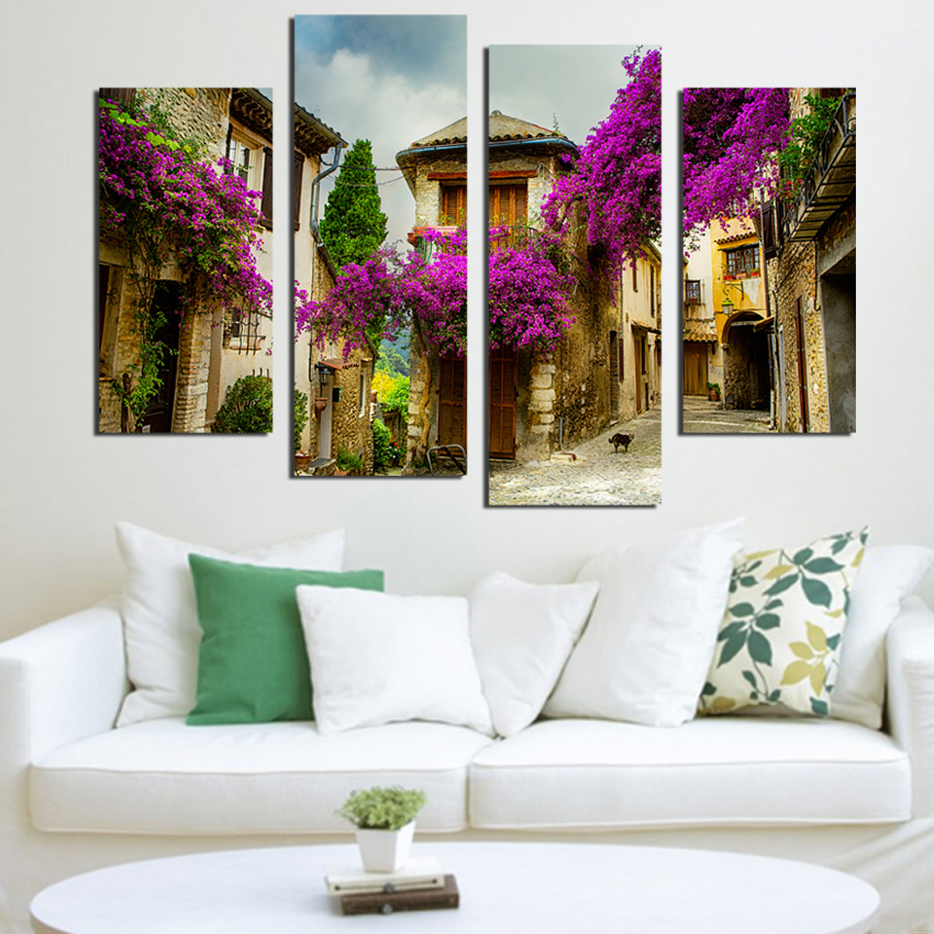 Beautiful Town Flower Landscape Canvas Painting Purple Flower Decorative Wall Pictures For