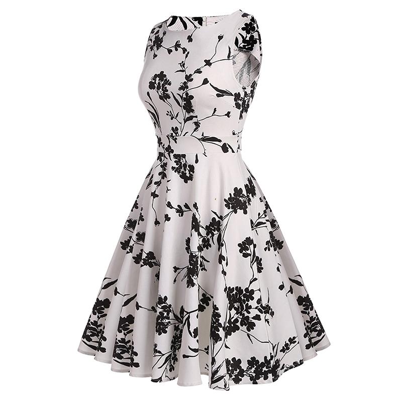 Kostlish Cotton Summer Dress Women 2017 Sleeveless Tunic 50s Vintage Dress Belt Elegant Print Rockabilly Party Dresses Sundress (76)