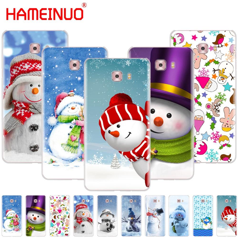 HAMEINUO Christmas Cute snowman snowflake cover phone case for Samsung Galaxy C5 C7 C8 C9 C10 J2 PRO 2018