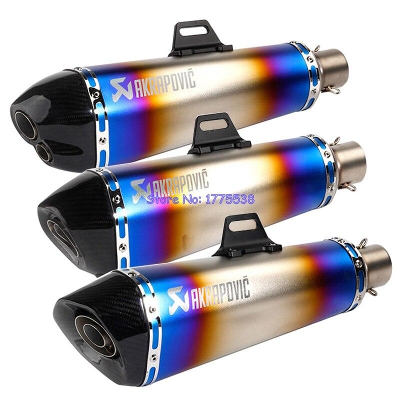Neochrome ID:51mm Motorcycle Akrapovic Muffler Exhaust Universal Motorbike Exhaust Muffler Escape Damper with Carbon Fiber Tip