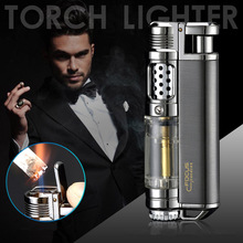 Visible Gas Window Torch Cigar Lighter Jet Butane Metal Turbo Lighter Portable Spray Gun 1300 C Windproof Pipe Gadgets For Men