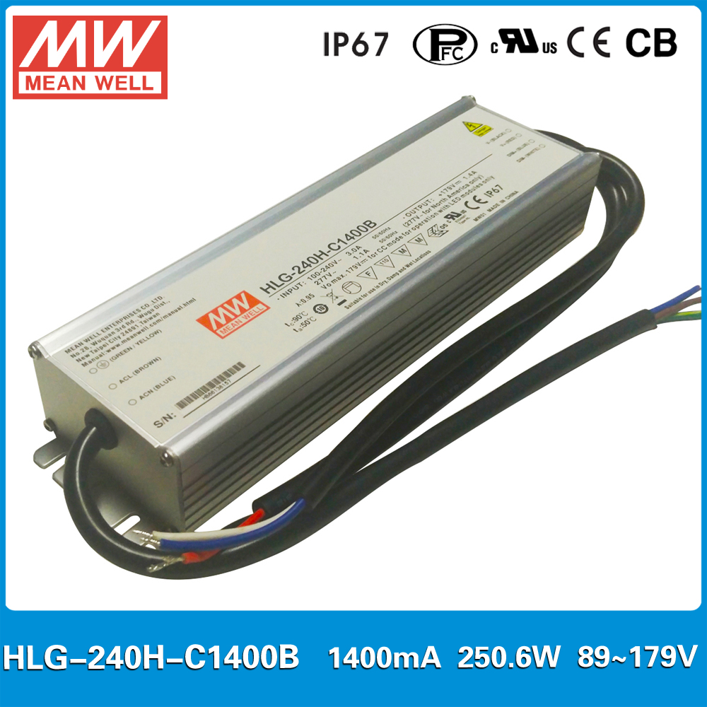 Original Meanwell HLG-240H-C1400B constant current LED driver 1400mA 250W dimming high power supply PFC IP67 288w led driver dc54v 6 3a high power led driver for flood light street light ip65 constant current drive power supply