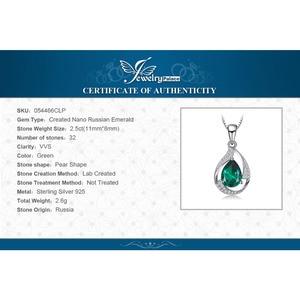 Image 5 - Jpalace 3ct Simulated Nano Emerald Pendant Necklace 925 Sterling Silver Gemstones Choker Statement Necklace Women No Chain