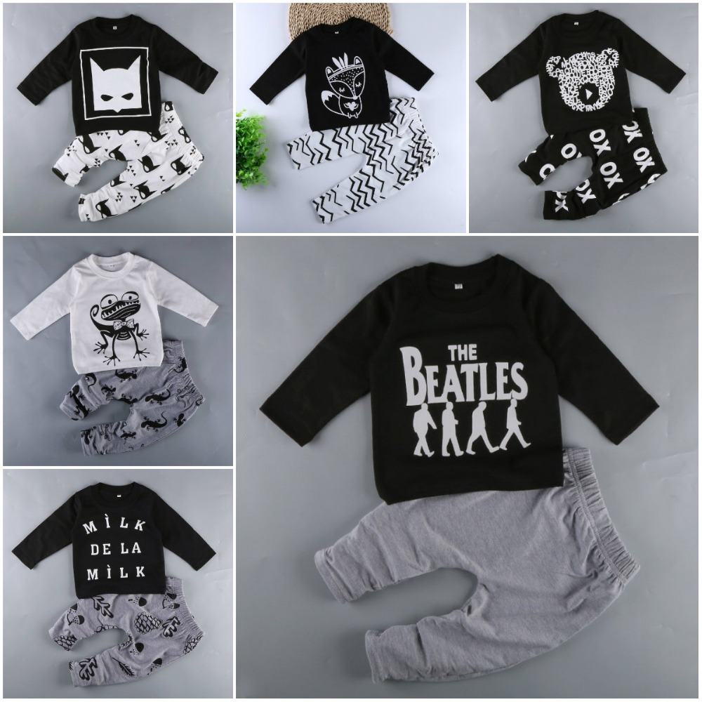 Baby Boy Sets Boy's Girl's Clothing Summer Autumn Cartoon Long Sleeve + Pant 2pcs Baby's Wear Conjoined Clothes Sets M1728 clearance 2pcs set baby boy clothes cartoon pattern baby clothing sets summer black white top pant for newborns bebk giyim