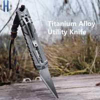 Titanium Hard One-handed Opening And Closing Utility Knife Paper Cutter Edc Tool Stainless Steel Blade Knife