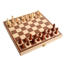 Foldable Wooden International Chess Checkers Kids Intellectual Training Toys Portable Game Puzzle Games for Entertainment