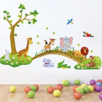Tapeta nowa naklejka na ścianę zwierzę małpa żyrafa drzewo ścienne przedszkole Baby naklejka do dziecięcego pokoju wystrój