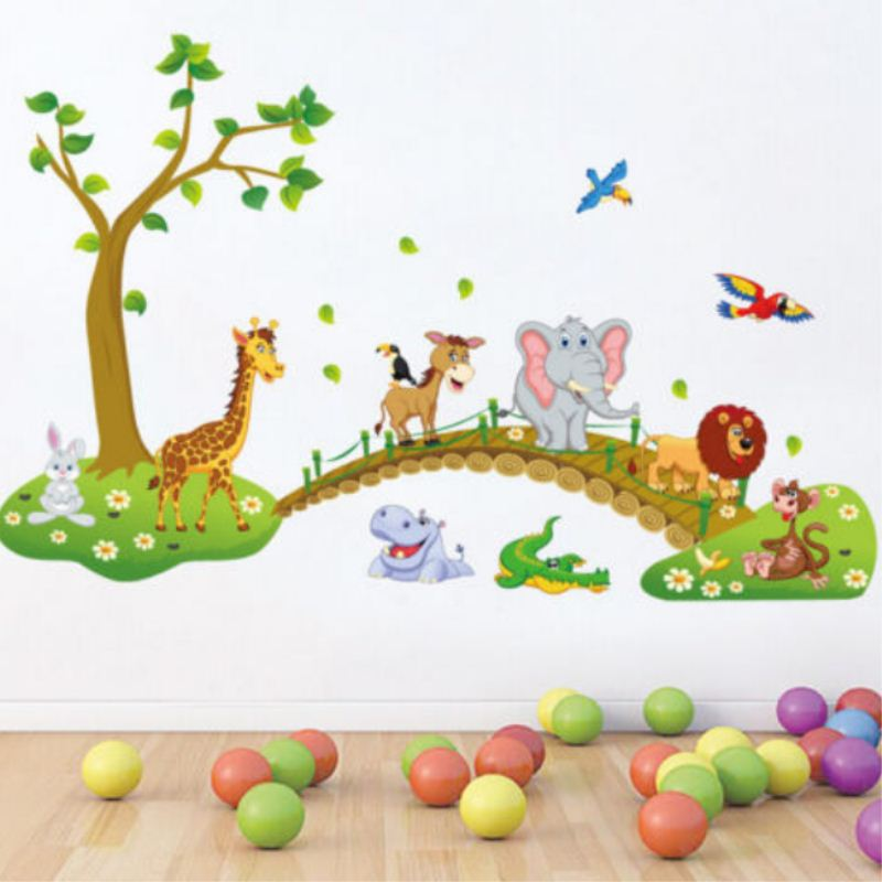 Wall Paper New Animal Wall Sticker Monkey Giraffe Tree Mural Nursery Baby Kids Room Decal Decor image