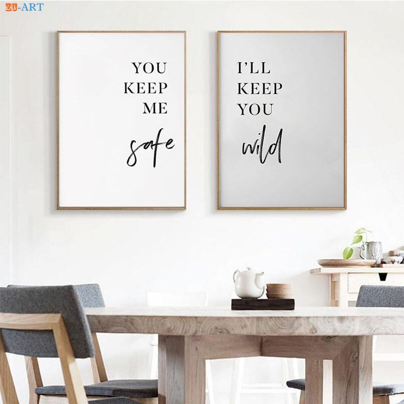 Настенная картина в скандинавском стиле для пары, постер с цитатами, современное художественное настенное украшение для детской, спальни, б...