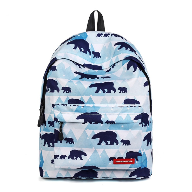 CH1505D4-105 New Fashion Women Bag Bear Print Bag Student Burden Reduction School Backpacks Female Nylon Backpack