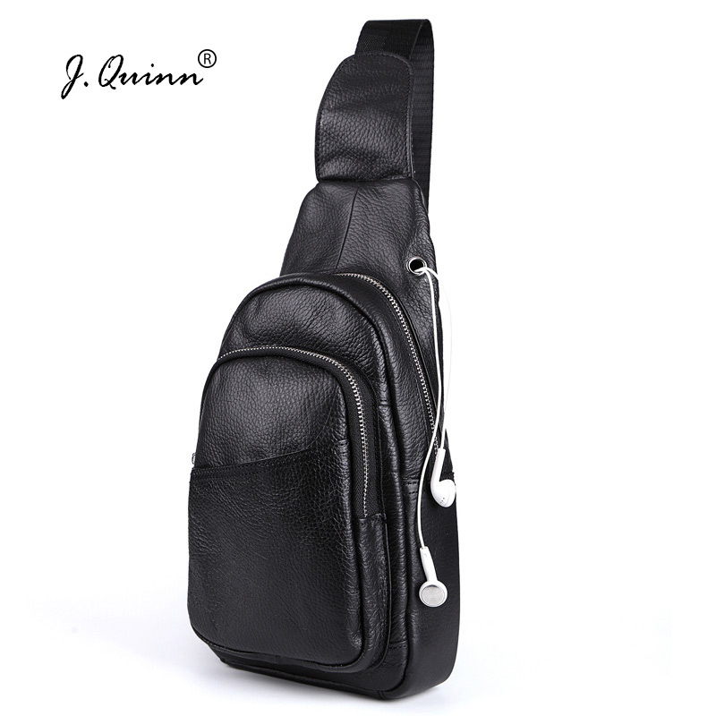 J.Quinn Brand Mens Small Travel Chest Packs Genuine Leather Men Messenger Bags Fashion Chest Bag Male Single Shoulder Strap Bag