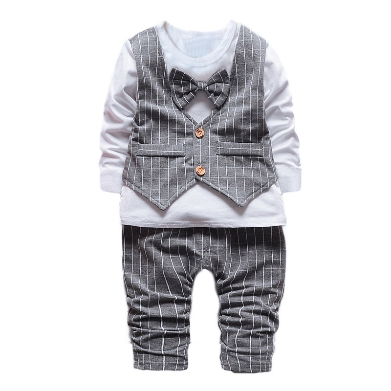 1-2-3-4-years-Little-Baby-Boys\'-Birthday-2-PCS-clothing-Set-Bowtie-plaid--Formal-Wear-Suit-Gentleman-kids-child-Clothing-Sets-2