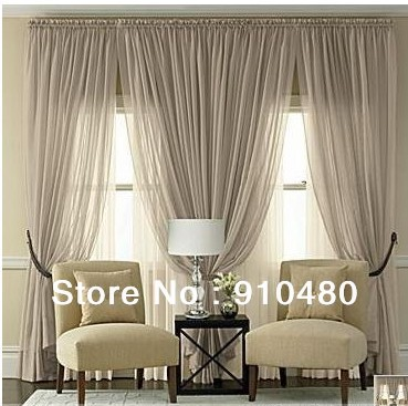 Luxury Voile Curtain Rod Pocket Sheer Curtain Panel One Lot Including Width 200 Length 260cm