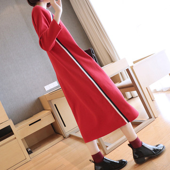 Long-sleeved knit dress female 2018 autumn new women's long section loose large size autumn and winter bottoming dress