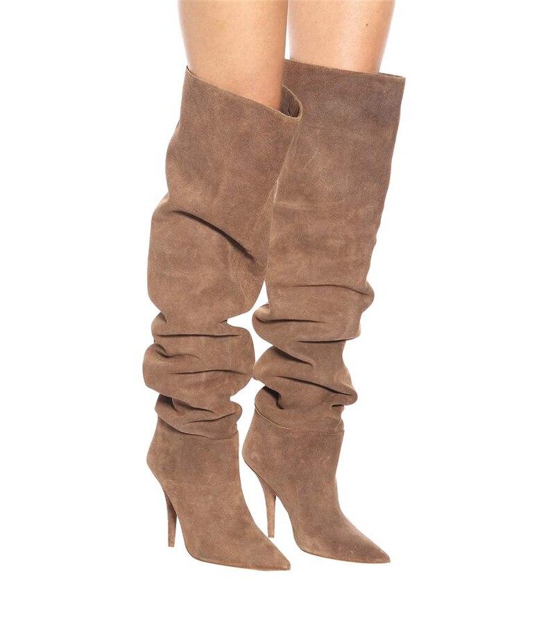 2019 Brown Solide Heels Kleid Plissee Stiefel Stiletto mehrfach Damen Spitz Grau knie Über Mode Lange die Wildleder Leder Weibliche qBCTqS