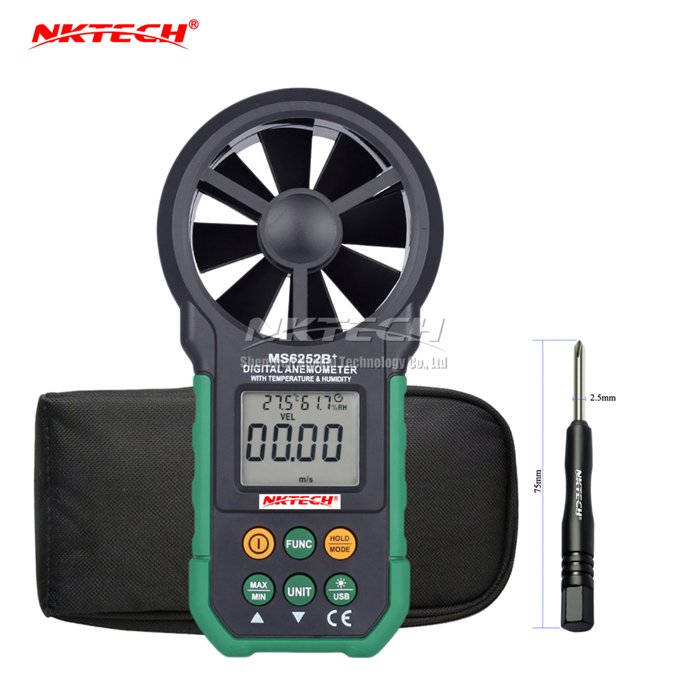 NKTECH MS6252B+ LCD Digital Anemometer Wind Speed Meter Air Flow Volume Ambient Temperature Humidity USB Data Upload Tester цена